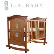 L.A. Baby 美國加州貝比波特蘭嬰兒搖擺大床/木床/原木床/嬰兒床(咖啡色/白色)