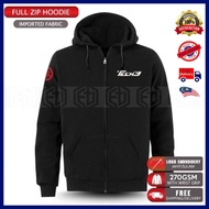 Zip Hoodie Embroidery Yamaha Tech3 MotoGP Motorcycle Motosikal Superbike Racing Team Bike Casual SRL 125Z LC RXZ TZM