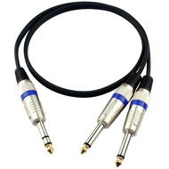 """6.35mm TRS Male To 2x 6.35mm Dual TS 1/4"""" Male Plug Microphone Audio Stereo Extension TRS to TS Cable M/M 0.5 - 30 meter"""