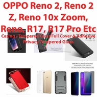Casing Cover Tempered Glass Case OPPO Reno 2 / Reno 2z/  Reno Zoom 10x/Reno/R17/R17Pro/Find X etc