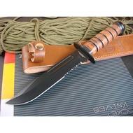 USMC卡巴戰術直刀(半齒) 刺刀 求生刀 戶外刀 露營刀 藍波刀 刀具 小刀 貝爾刀 軍刀 藍波刀 折刀 跳刀