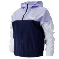 New Balance 女裝 外套 連帽 休閒 拼接 風衣 鬆緊帶下擺 紫 藍【運動世界】AWJ91550PIW