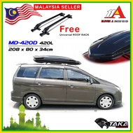 Taka Roof Box MD-420D Ultra Slim 420 Liter Storage Carrier Roofbox w FREE Roof Rack Universal