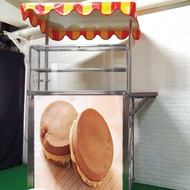 【空間特工】中型紅豆餅攤車120x70x210公分 展示餐車  不鏽鋼(平台展開達5尺 附遮陽棚、強化玻璃展示櫃)
