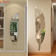 Wall Sticker Art Mural Background Feather Mirror Home Removable Wallpaper