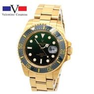 【八度空間】Valentino 古柏不鏽鋼腕錶-日本機芯防水錶 中金藍水鬼金陶瓷外框水鬼錶 #范倫鐵諾