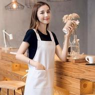 圍裙 白色工作圍裙防水防油半身做飯廚房純棉廚師圍腰 KB3709