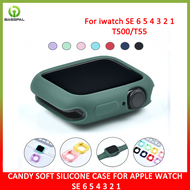 BassPal Soft silicone case for Apple Watch Band series SE 5 6 40MM 44MM i Watch bracelet series 1 2 3 4 protection 42mm 38mm strap accessories  color for choice Silica gel cover protection fit ultra-thin bezel T55 T500 Smart  watch  accessories