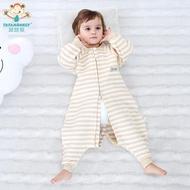 嬰兒分腿睡袋春秋薄棉 空氣棉透氣彩棉寶寶睡袋純棉保暖款防踢被 初語生活館