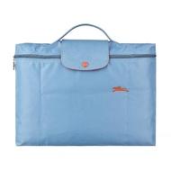 【LONGCHAMP】LONGCHAMP COLLECTION系列刺繡LOGO尼龍摺疊款手提公事包(霧藍x橘)
