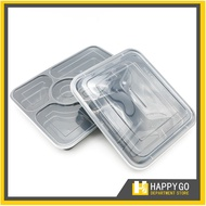 Go Microwavable Disposable Bento Box - Food Storage with  Lid 3pcs 4 and 5 Divisions