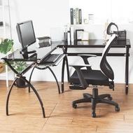 【完美主義】高質感強化玻璃L型電腦桌/工作桌/書桌/辦公桌(二色可選)