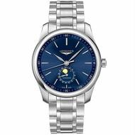 LONGINES 浪琴錶 L29194926 巨擘系列月相腕錶 鋼帶款 / 藍面 42mm