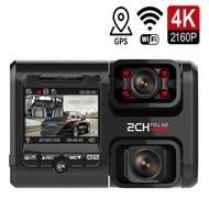 ZZOOI Dual Lens Car DVR HD Night Vision Dash Cam Car Dash Camera Recorder 4K 2160P WIFI GPS 360 degree panorama with ADAS function
