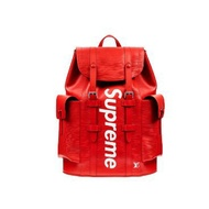 LV x Supreme Christopher Backpack Epi PM Red後背包