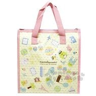 小禮堂 角落生物 方形不織布保冷手提袋《粉黃.滿版》便當袋.野餐袋
