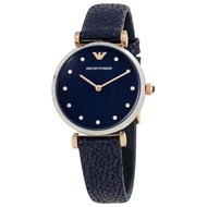 2019 Emporio_Armani 32mm Navy Blue Dial Navy Blue Leather Strap Women's Watch AR1989