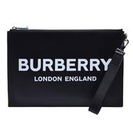 【BURBERRY 巴寶莉】經典品牌LOGO小牛皮拉鍊掛腕手拿包(黑色8009214-BLK)