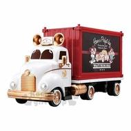 〔小禮堂〕迪士尼 米奇 TOMICA小汽車收納車展示櫃《紅白.貨櫃車》公仔.玩具.模型
