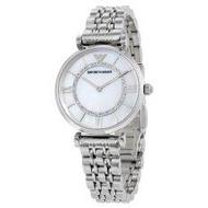 Emporio Armani Women's Steel Bracelet & Case Quartz MOP Dial Analog Watch AR1908(Black)