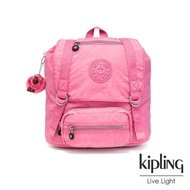 【KIPLING】甜美糖果粉雙扣翻蓋束口後背包-JOETSU S