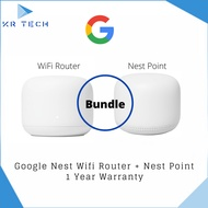 [Authorised Partner]  Google Nest WiFi Router + Nest WiFi Point – with 210 Sqm Coverage Comes with 3pin plug (SG Safety Mark)