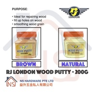 RJ London Wood Putty/ Wood Filler/ Wood Filla/ Brown and Natural Color 200g