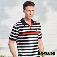 Nautica COMPETITION經典條紋POLO衫-黑色