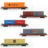 ❈Model Railway HO Scale 1:87 52ft Flat Car with 20ft 40ft Shipping Container Cargo Box Lot C8741