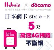 5天日本網卡 IIJ官方 docomo訊號 覆蓋 北海道 沖繩  旅遊網卡 原生卡 不斷網