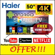 [NEW ARRIVAL] Haier 50 inch ANDROID 9.0 SMART TV 4K UHD HDR LED TV LE50K6600UG Sharp Image Built in Wifi support MYTV Freeview