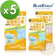 【醫碩科技】藍鷹牌NP-13SNP*5台灣製平面型兒童用防塵口罩/口罩/平面口罩 絕佳包覆 三層式 5入*5包