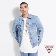 GUESS-男裝-簡約造型牛仔外套-淺藍
