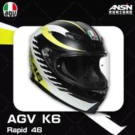 [安信騎士] 義大利 AGV K-6 彩繪 RAPID 46 消光黑白黃 全罩 超輕量 安全帽 亞洲版 K6