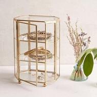 The View Home 復古歐風金邊玻璃三層首飾收納櫃 桌上收納 首飾盒 珠寶盒
