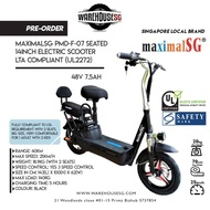 PREORDER MaximalSG PMD-F-07 Seated 14inch Electric Scooter 48V 7.5AH LTA compliant (UL2272)/ FIIDO/DYU/TEMPO
