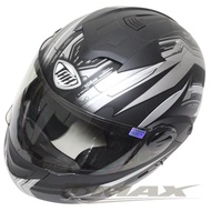 【THH】新一代駭客全罩半罩可掀式雙鏡片安全帽 T797A+-黑銀XL(12H)