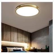 美式金色圓形全銅吸頂燈含LED三色光(金色側發光款)直徑30cm-24W