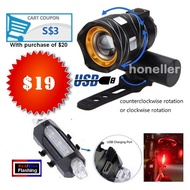 LED Headlight USB Chargeable Taillight Bicycle eScooter eBike Scooter