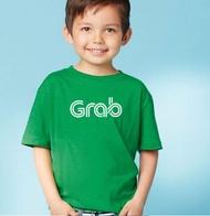 เสื้อยืด คอกลม เด็ก สีเขียว ลาย GRAB  ผ้า cotton 100%