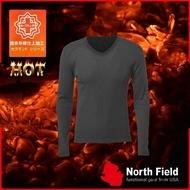 【North Field美國 男 V領遠外線內衣《炭灰》】108T/保暖衣/發熱衣/膠原蛋白/吸濕排汗/親膚