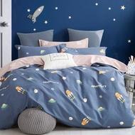 【eyah】100%台灣製寬幅精梳純棉雙人床包枕套組-台灣火箭上太空