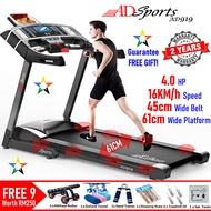 4.0HP ADSports AD919 Motorized Electric Treadmill Peralatan Berlari 61CM Luas Platform Berjalan & Sistem Redaman Penyerapan 8x