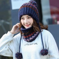 帽子女冬天針織帽季加厚加絨保暖韓國護耳圍脖毛線帽百搭