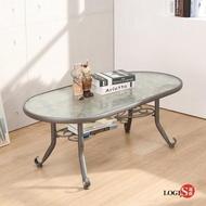 【LOGIS】LOGIS邏爵-雅典玻璃茶几(橢圓桌/客廳桌)