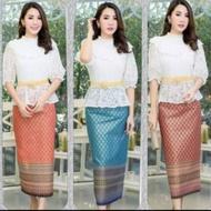 ชุดเดรสผ้าไทย ชุดทำบุญ ชุดอุ่นไอรัก ชุดเดรสสวยๆแบบไทยๆ ชุดเดรสเสื้อลูกไม้กระโปรงผ้าพิมพ์ลายไทยลายทอง