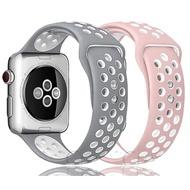 สายแบบ Sport Band สำหรับ Apple Watch Strap 44mm 40mm 38mm 42mm Silicone Bracelet Rubber Belt for Watch Series 6 SE 5 4 3 2 New Watch Accessories.