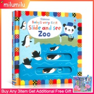 Children Books Usborne Babys Very First Slide and See Zoo Board Book English Activity Books นิทานเด็ก
