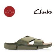 【Clarks】Clarks 盛夏瓣履 王牌三瓣舒適異材質拼接三片式交叉設計拖鞋(橄欖綠)