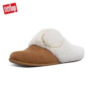 【FitFlop】TILDA BUCKLE SLIPPERS 裝飾釦皮草變鞋(淺褐色)